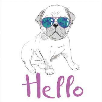 ピンクの背景にカチューシャの子犬パグ。ベクトルイラスト。