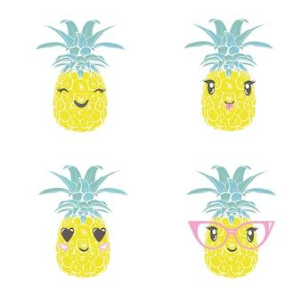 Ананас с бокалами тропический, вектор, иллюстрация, дизайн, экзотические, еда, фрукты