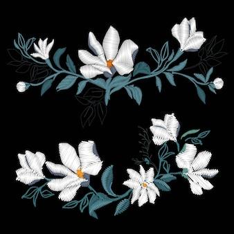 マグノリア刺繍、ベクトル、イラスト