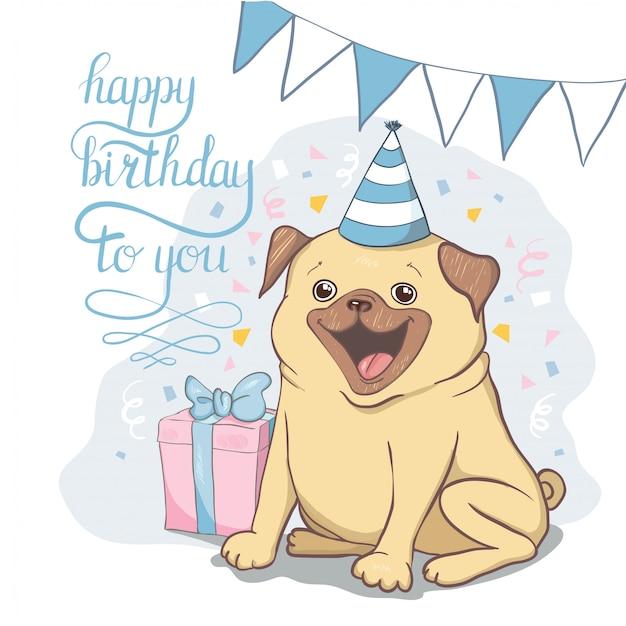 かわいい漫画の犬と一緒に誕生日カードを設定します。