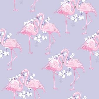 Безшовная иллюстрация картины фламинго