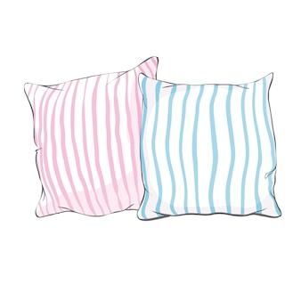 枕、アート、分離された枕、白い枕、ベッド枕のイラストをスケッチします。