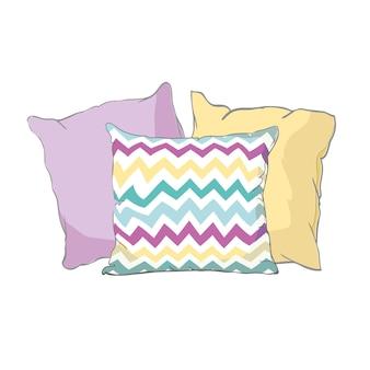 Сделайте эскиз к иллюстрации подушки, искусства, изолированной подушки, белой подушки, подушки кровати