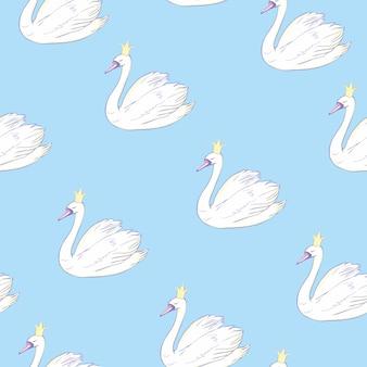 Бесшовный фон с белыми лебедями. белые лебеди на розовом фоне. иллюстрации.