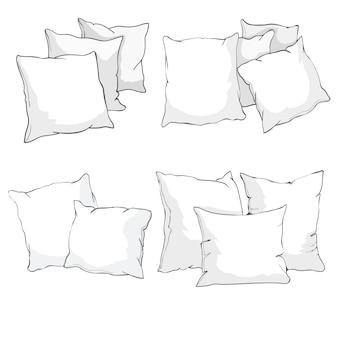 枕、アート、分離された枕、白い枕、ベッド枕のスケッチベクトルイラスト