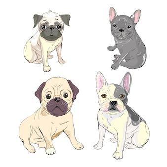Смешные щенки французского бульдога. вектор смешной французский бульдог, милый щенок, домашнее животное рисунок эскиз иллюстрации