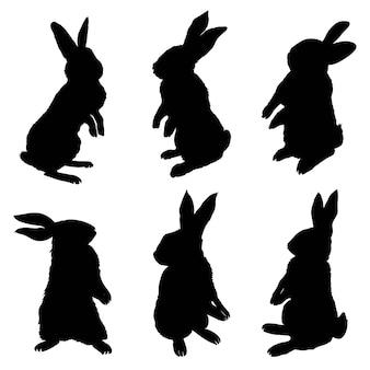 Силуэт кролика сидя, векторная иллюстрация
