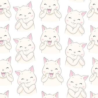 シームレスなかわいい猫のシームレスパターン