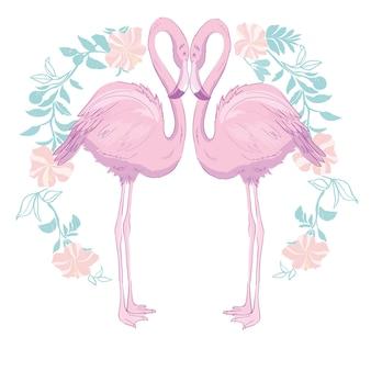 ピンクのフラミンゴのベクトル図
