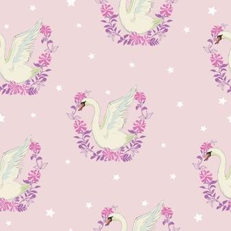 白い白鳥とのシームレスなパターン