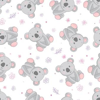 コアラのクマのパターン。シームレスパターンピンクの背景。