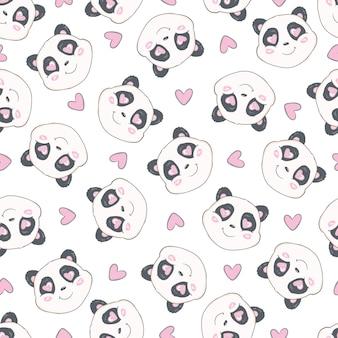 かわいい手でシームレスなパターンには、パンダの頭が描かれています。動物のタイル張りの背景。