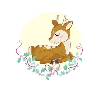 Милый мультфильм ребенок олень