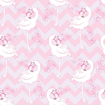 Бесшовный фон с мультяшным розовым фламинго
