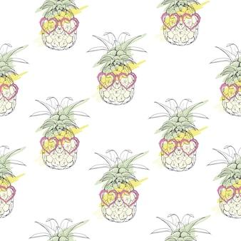 パイナップルとシームレスなパターンベクトル