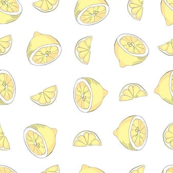 レモンと手描き水彩のシームレスパターン