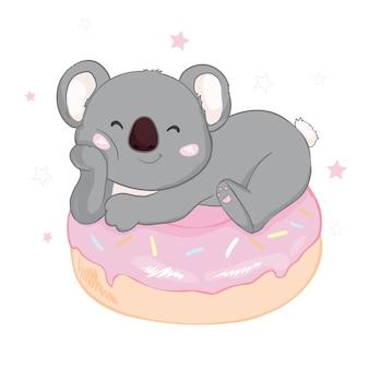 ドーナツの上にかわいいコアラ
