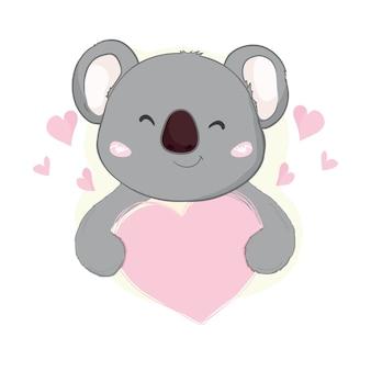 ピンクのハートのかわいいコアラ