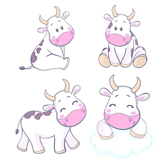 牛かわいいキャラクター漫画デザイン
