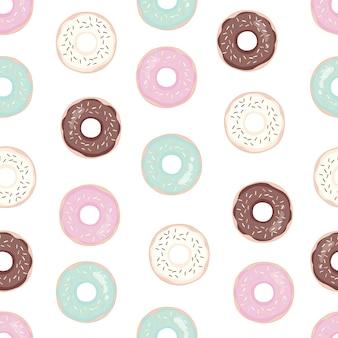 ピンクのアイシングとドーナツ。シームレスなパターン。