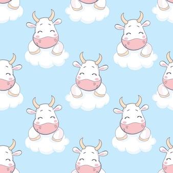 漫画牛のシームレスなパターン。