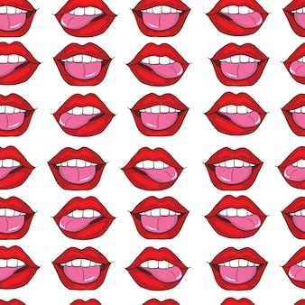 口ポップアートのシームレスパターン