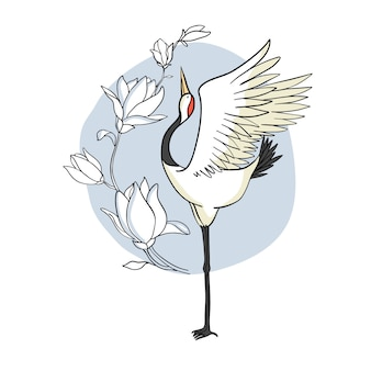 クレーン。飛んでいる鳥。デザイン要素。 。