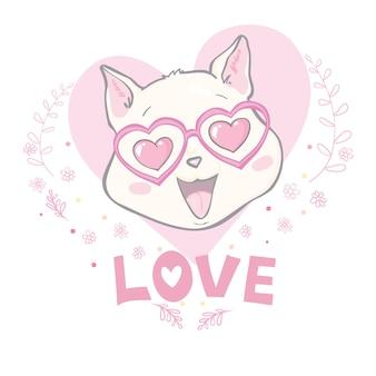 愛のテキストでかわいい面白い猫の描き下ろしイラストを手します。