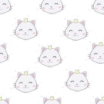 Бесшовный фон с кошками. улыбающиеся милые кошки