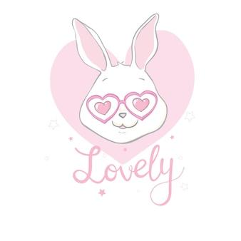 素敵なテキストとかわいいかわいいウサギの手描きイラスト