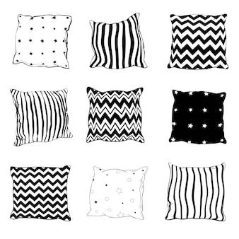 黒の手描きスケッチスタイル枕のセット