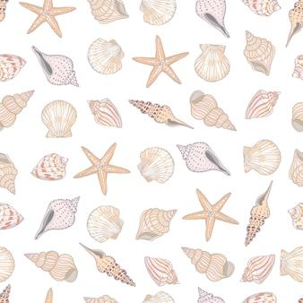 貝殻のシームレスなパターン。