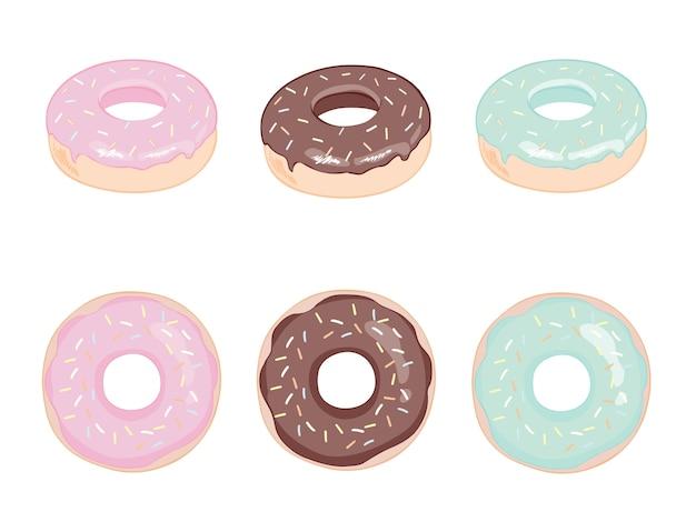 ミント、クリーミー、ピンク、ブルーの釉薬が入ったデザートセット。