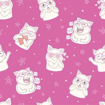猫とのシームレスなパターン。かわいい猫の背景を笑っています。