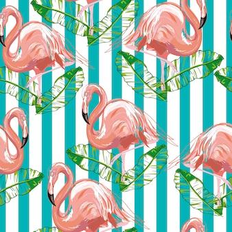 フラミンゴとハイビスカスの美しいシームレスなベクトル熱帯パターン。壁紙に最適