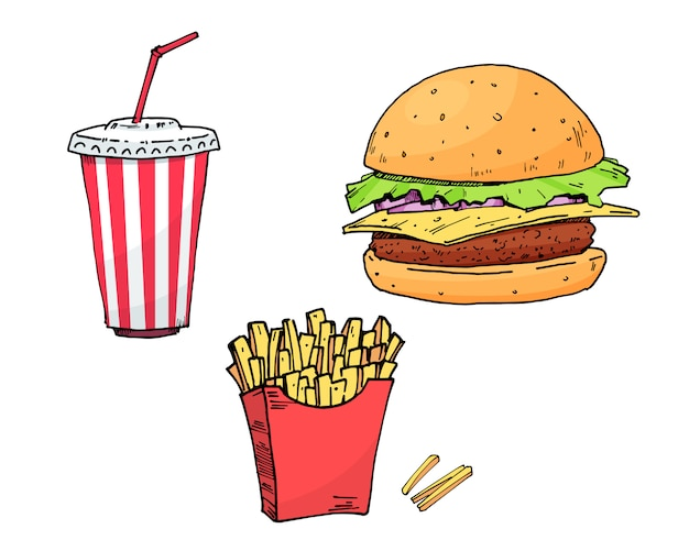 バーガー。コーラ。ポテトフリー。セットのカラフルなファーストフード手描きコレクション要素ベクトル図