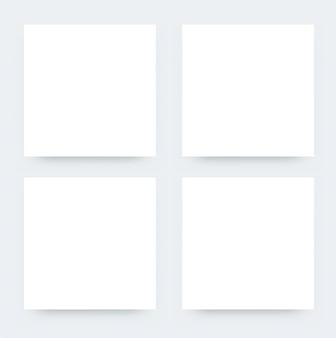 正方形の空チラシモックアップ。プロモーションのための紙ポスターデザインのベクトルイラスト。ホワイトペーパーの現実的なモックアップ