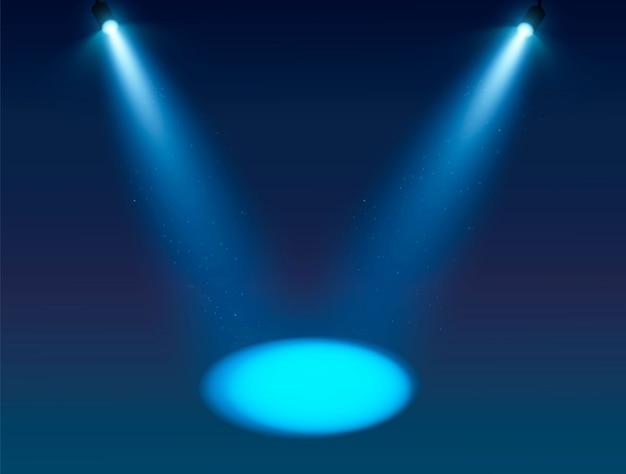 青いスポットライトのベクトルの背景。