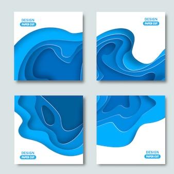 Набор квадратных фонов с бумагой вырезать фигуры. абстрактный дизайн.