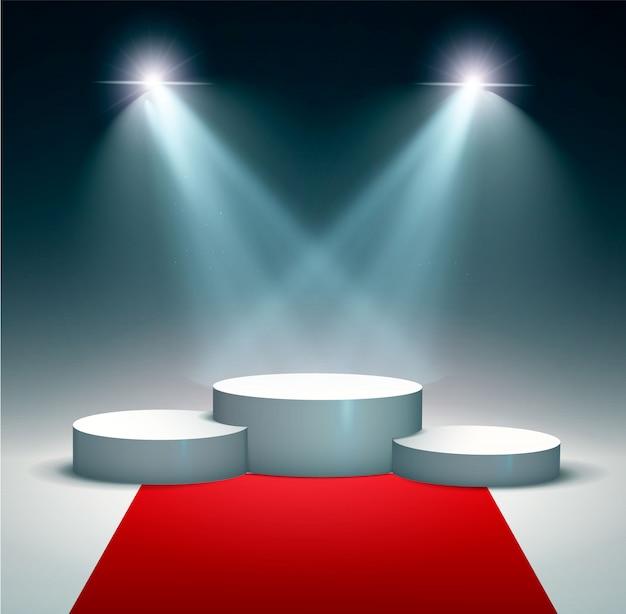 受賞者の表彰台、台座の背景