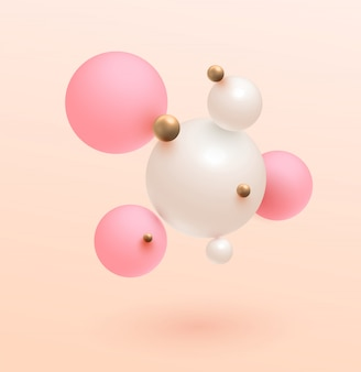 ミニマルなゴールド、ピンク、白いボール。モダン。傾向