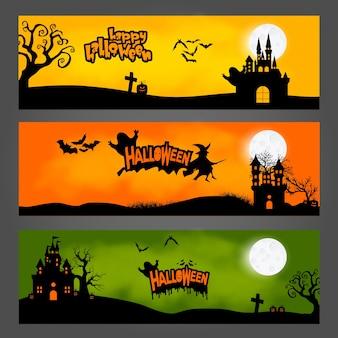 Векторный набор из трех баннеров на хэллоуин