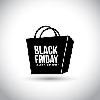 ブラックフライデー。白い背景にショッピングバッグの新しいシンプルなタイポグラフィ。