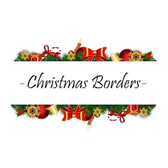 白い背景にクリスマスの現実的な要素を持つクリスマスのボーダー