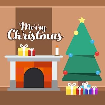 ギフトボックスと木でクリスマスの挨拶カードのタイポグラフィ