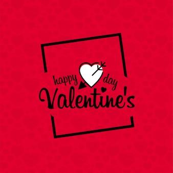 赤いパターンの背景とハッピーバレンタインデー