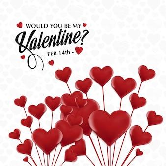Будете ли вы моим валентином с красными сердцами?