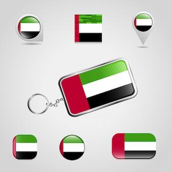 Объединенные арабские эмираты флаг дизайн значки набор вектор