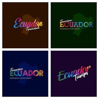 観光エクアドルのタイポグラフィロゴの背景セット
