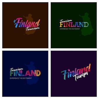 観光フィンランドのタイポグラフィロゴの背景セット